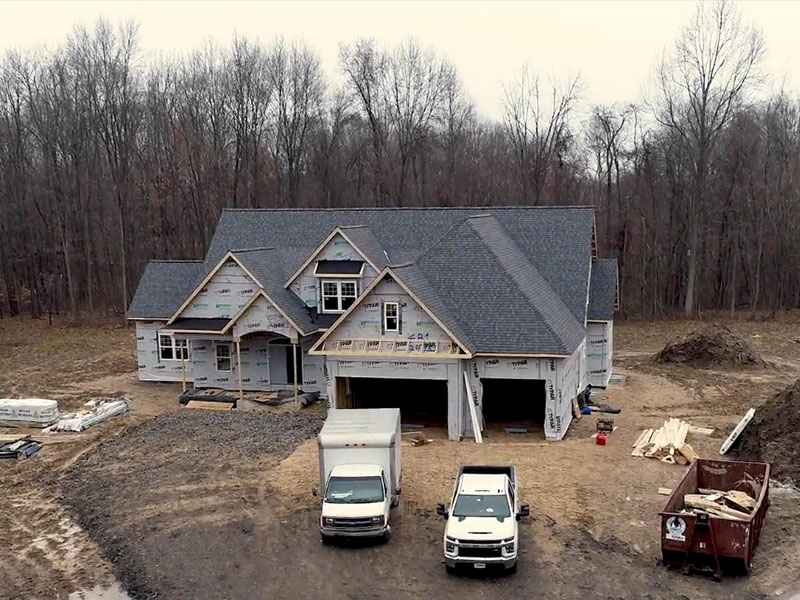 Drone video of home being built by wausau homes